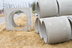Concrete drainage pipe on a construction site Stock Photography
