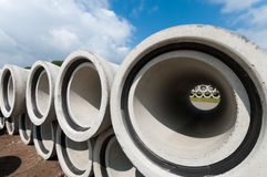 Concrete drainage pipes Stock Photos