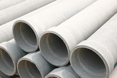 Concrete drainage pipes. On Construction Site Royalty Free Stock Photography