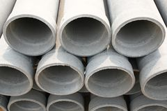 Concrete drainage pipes. On Construction Site Stock Images