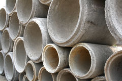 Concrete drainage pipes. On construction site Royalty Free Stock Images