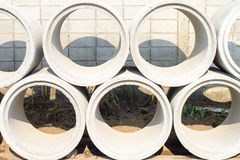 Concrete drainage pipes for industrial building  construction.Co Royalty Free Stock Image