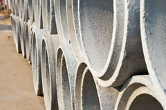 Concrete drainage pipes for industrial building  construction.Co Stock Images