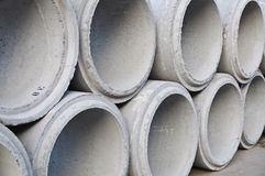 Concrete drainage pipes stacked Stock Photography