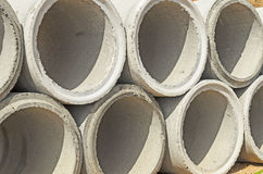 Concrete drainage pipes stacked Stock Photo