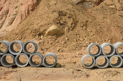 Concrete drainage pipes stacked Stock Image