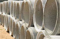 Concrete drainage pipes stacked Royalty Free Stock Photography