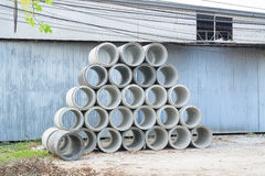 Concrete drainage pipes stacked for construction, irrigation, in Stock Photo
