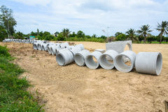 Concrete drainage pipes stacked for construction, irrigation, in Royalty Free Stock Photography