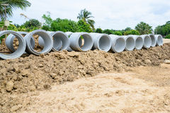 Concrete drainage pipes stacked for construction, irrigation, in Stock Photography