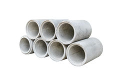 Concrete drainage pipes stacked for construction, irrigation, in Royalty Free Stock Image