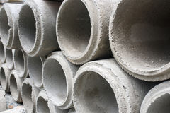 Concrete drainage pipes stacked Stock Images
