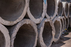 Concrete drainage pipes Royalty Free Stock Photography