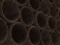 Concrete drainage pipes stacked. Concrete grunge drainage pipes stacked Royalty Free Stock Photos