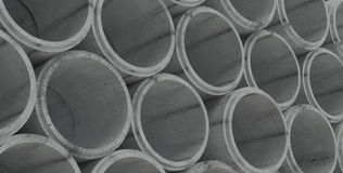 Concrete drainage pipes stacked. For industry Royalty Free Stock Image