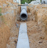 Concrete drainage tank Stock Photo