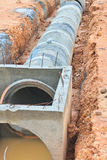 Concrete drainage tank on construction site Stock Photography