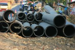 Concrete drainage tank Stock Photo