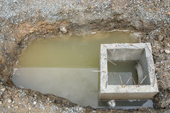 Concrete drainage tank on construction site Stock Photos