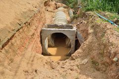 Concrete drainage tank on rodeside. Royalty Free Stock Images