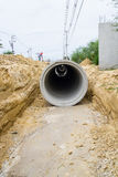 Concrete drainage tube at construction site Stock Images