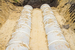Concrete drainage tube on construction site Royalty Free Stock Photography