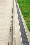 Concrete Driveway And Drain System Stock Photo