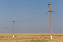 Concrete electric pole on the field Stock Photo