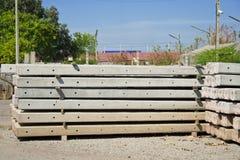 Concrete electric pole piles stock photos