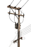 Concrete Electric Tower with Transformer, isolated Royalty Free Stock Photo