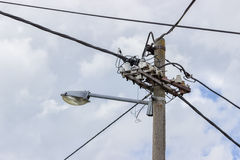 Concrete Electrical Pole With Street Lamp Stock Images