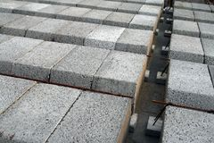 Concrete elements. And steel - floor construction Stock Photo