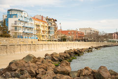Concrete embankment in the Bulgarian city of Pomorie Royalty Free Stock Images