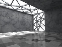 Concrete empty dark room with ceiling light. Abstract architectu Stock Photos