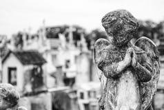Concrete Engel bij begraafplaats Royalty-vrije Stock Afbeelding