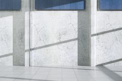 Concrete exterior with blank wall. Concrete exterior with shadows, sunlight and blank wall. Advertisement concept. Mock up, 3D Rendering Stock Image
