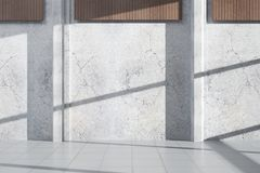 Concrete exterior with empty wall. Concrete exterior with shadows, sunlight and empty wall. Advertisement concept. Mock up, 3D Rendering Stock Photo