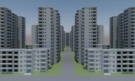 Concrete faceless multi-storey building. Concrete faceless empty multi-storey building. 3d rendering vector illustration