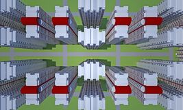Concrete faceless multi-storey building top view. Concrete faceless empty multi-storey building top view. 3d rendering Stock Images