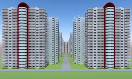 Concrete faceless multi-storey building. Concrete faceless same empty multi-storey building. 3d rendering Stock Photo