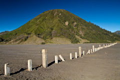 Concrete Fence on Mount Batok. Mt Batok is the dormant vulcano located on Mt. Bromo complex Royalty Free Stock Photos