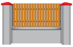 Concrete fence with wood insert. Vector illustration Stock Image