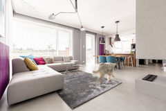 Concrete fireplace and big sofa. Spacious open plan modern living room interior with concrete fireplace, big comfortable sofa, dining space and kitchen Royalty Free Stock Images