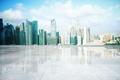 Concrete floor on cityscape background Royalty Free Stock Image