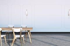 Concrete floor dining room interior Stock Images