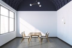 Concrete floor dining room interior, white walls Stock Photo