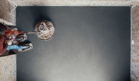 Concrete floor final grinding, top view. With copy-space royalty free stock photography