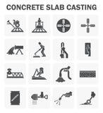 Concrete floor icons. Concrete floor casting icon sets stock illustration