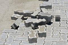 Concrete floor tiles in internal area street paving. SEROPEDICA, RJ, BRAZIL - JANUARY 7, 2016 Stock Image