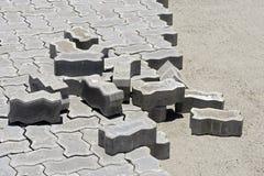 Concrete floor tiles in internal area street paving. Seropedica, RJ, Brazil - January 7, 2016 Royalty Free Stock Photography